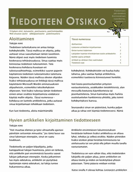 Yrityksen tiedote (2 palstaa, 6 sivua, postitettava)