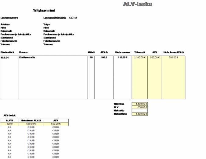 ALV-lasku - vero sisältyy hintaan