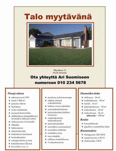 Talo myytävänä -lehtinen, jossa on valokuva, kartta ja pohjapiirustus