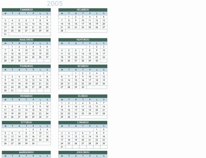 2005 - 2014 vuosikalenteri (ma-su)