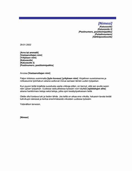 Kiitoskirje onnistuneen suosituksen johdosta (teema: sininen viiva)