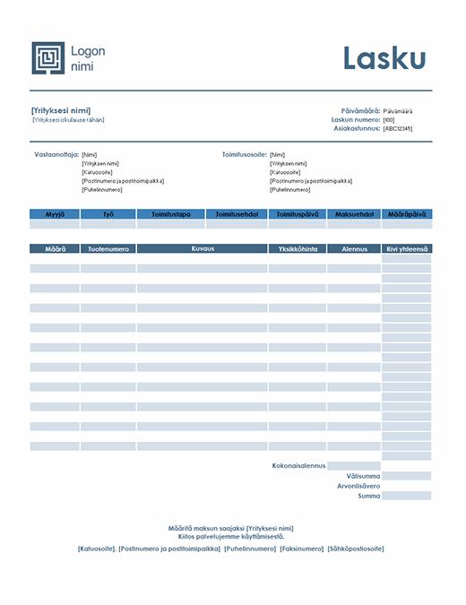 Myyntilasku (yksinkertainen sininen malli)