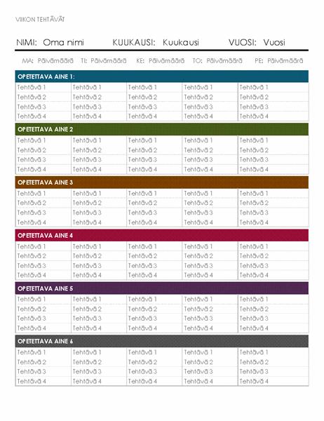 Viikoittainen tehtäväkalenteri