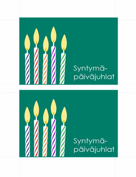 Kutsukortit syntymäpäiville (2 per sivu)
