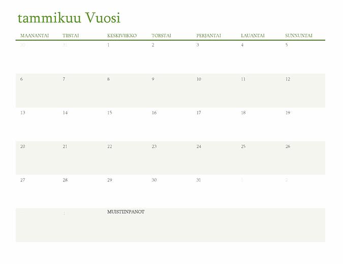 Yleisvuosikalenteri (1 kk/välilehti)