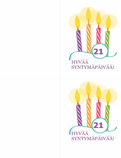 Syntymäpäiväkortit (2 yhdellä sivulla, Avery 8315)