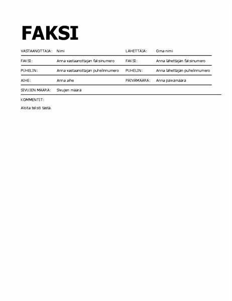 Lihavoitu faksin kansilehti