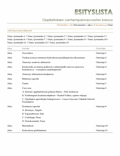 Vanhempainneuvoston esityslista