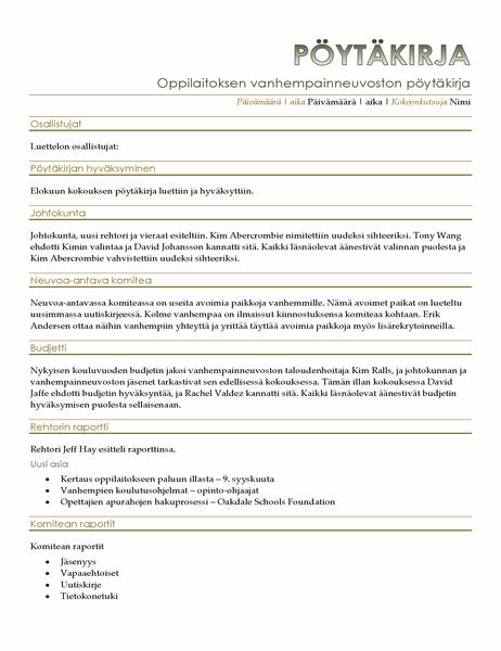 Vanhempainneuvoston kokouspöytäkirja