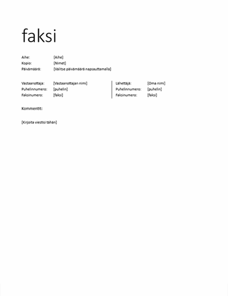Faksin kansilehti (epämuodollinen)