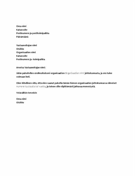 Johtokunnasta eroamisesta ilmoittava kirje