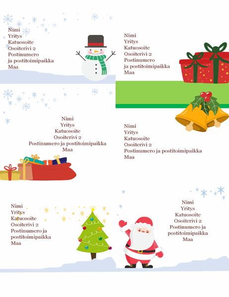 Joululähetystarrat (Joulun henki -malli, 6 sivua kohden, yhteensopiva Avery 5164:n ja vastaavien kanssa)