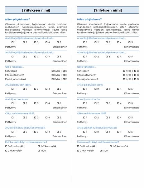 Ravintolakysely (2 per sivu)