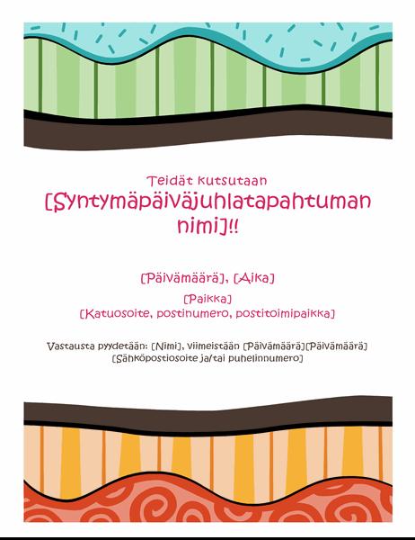Syntymäpäivälehtinen (Värikäs rakenne)