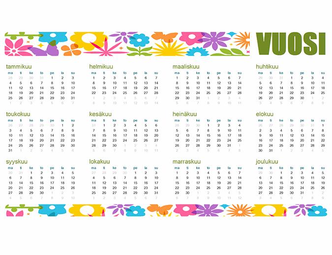 Yksilöllinen kalenteri mille tahansa vuodelle
