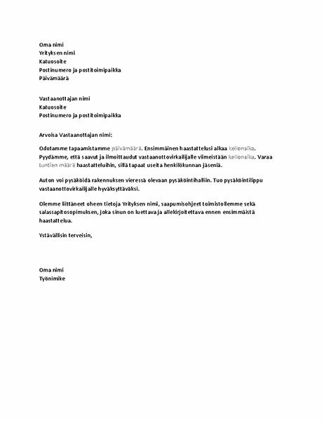 Kirje, jossa vahvistetaan hakijan työhaastattelu