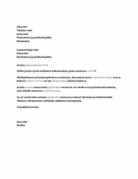 Kirje, jossa pyydetään myöhässä olevan maksun suorittamista