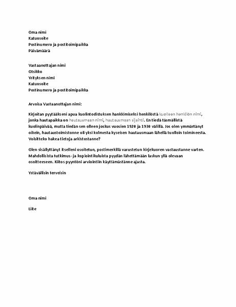 Kirje, jolla pyydetään sukututkimukseen liittyviä asiakirjoja hautaustoimistosta.