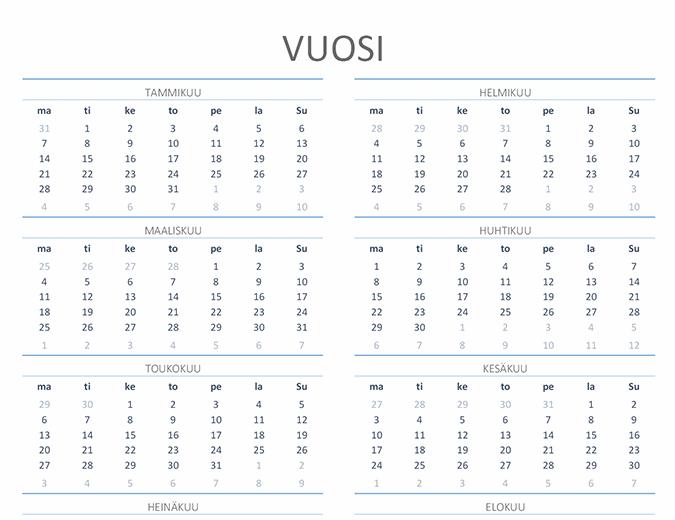 Vuosikalenteri (ma–su)