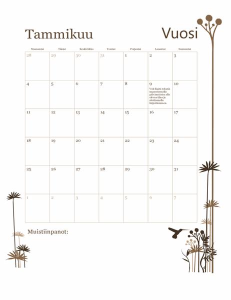 12 kuukauden Kolibri-kalenteri (ma–su)