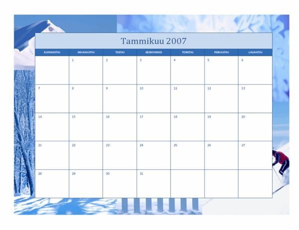 Vuoden 2007 kalenteri (12 sivua, vuodenajat)