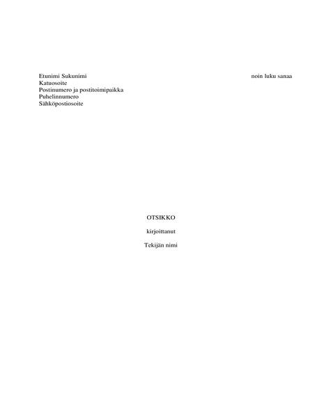Kirjan käsikirjoitus