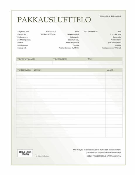 Pakkausluettelo (vihreä liukuvärikuvio)