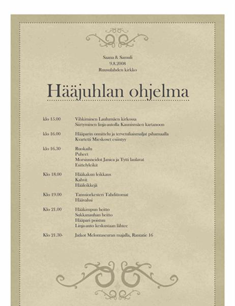 Hääjuhlan ohjelma (vanhahtava)
