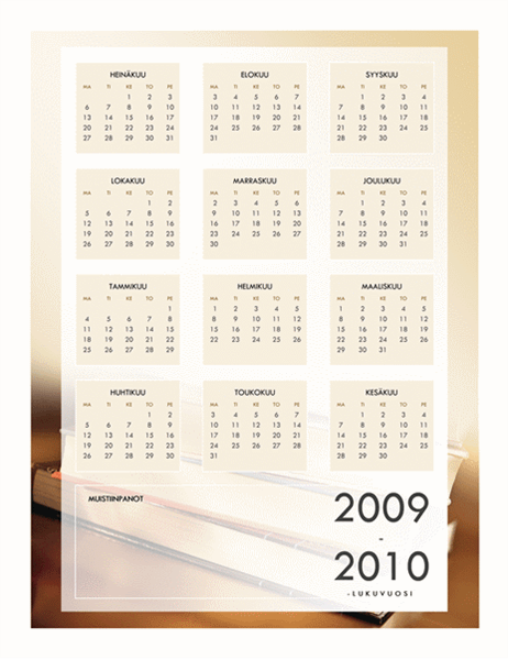 2009-2010 akateeminen kalenteri (1 sivu, ma–pe)