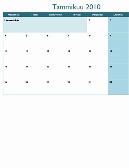 Vuoden 2010 kalenteri useassa laskentataulukossa (12 sivua, ma–su)