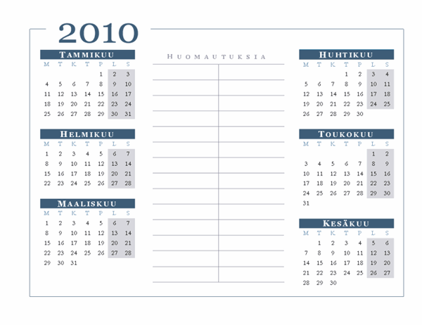 Vuoden 2010 kalenteri (6 kuukautta sivulla, ma–su)