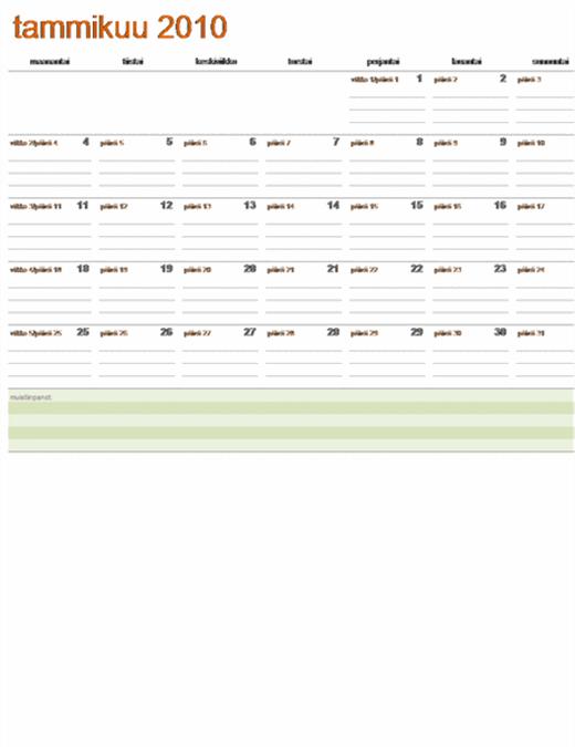 Juliaaninen kalenteri 2009 (ma - su)