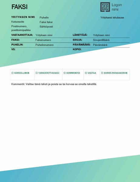 Faksin kansilehti (vihreä liukuvärikuvio)
