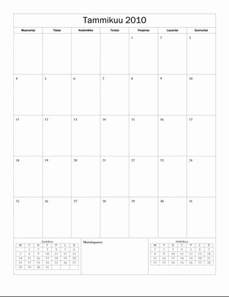 Kalenteri 2010 (perusmalli, ma–su)