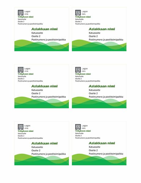 Lähetystarrat (vihreä aaltokuvio, kuusi sivulla)