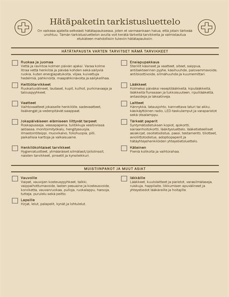 Hätäpaketin tarkistusluettelo
