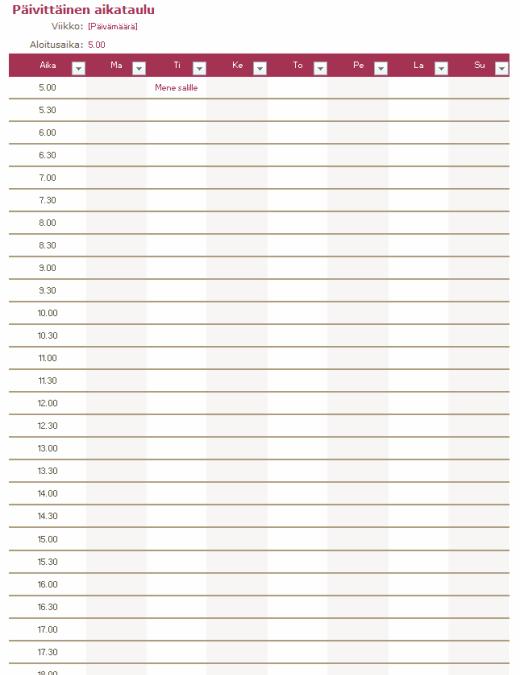 Päivittäinen aikataulu