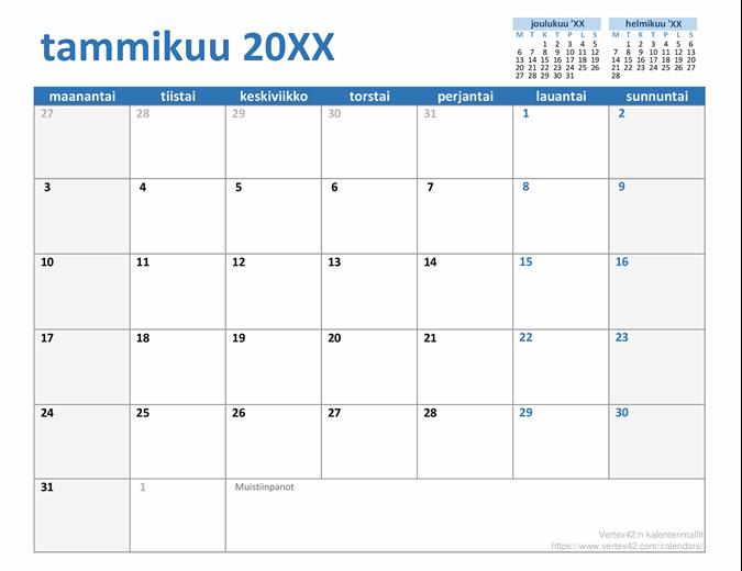 Mukautettu yleisvuosikalenteri