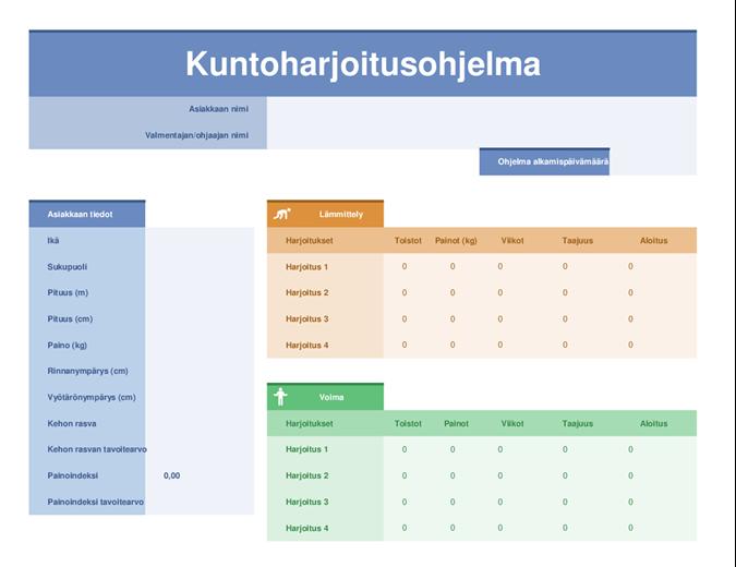 Treenipäiväkirja Pohja Excel