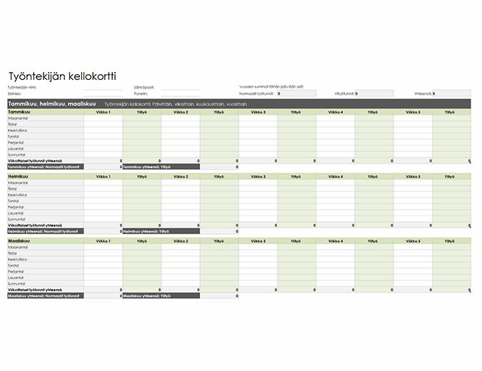 Työntekijän työaikakortti (päivä-, viikko-, kuukausi- ja vuosikohtainen)