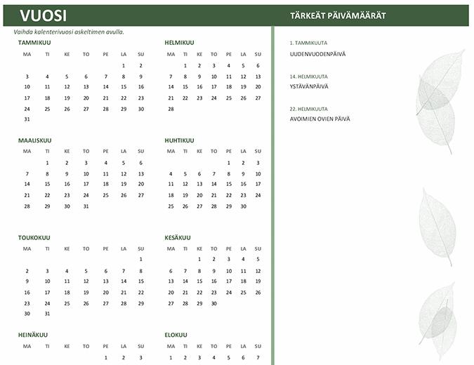 Yrityskalenteri (kaikki vuodet, ma–su)