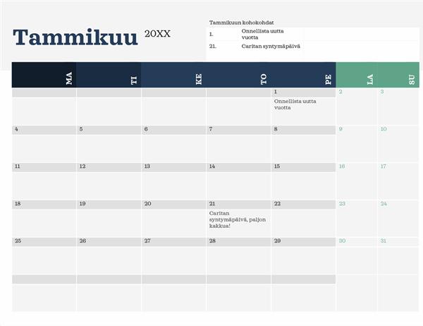 Nykyaikainen kalenteri kohokohdat