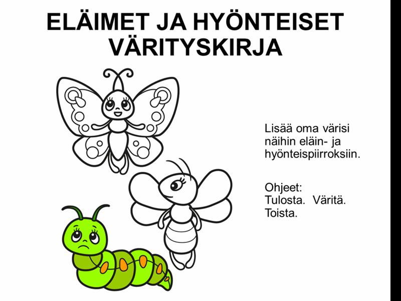 Eläimet ja hyönteiset -värityskirja