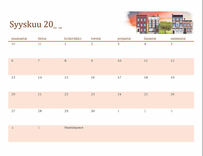 Kuvitettu vuodenaikakalenteri mille tahansa vuodelle