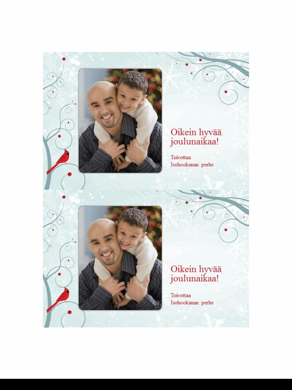 Valokuvajoulukortit, joissa näkyy lumihiutaleita (2 yhdellä sivulla)