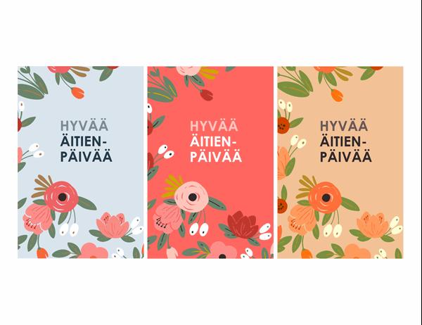 Äitienpäiväkortti, jossa on tyylikkäitä kukkia