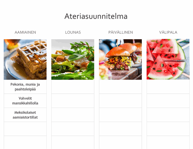 Yksinkertainen ateriasuunnitelma