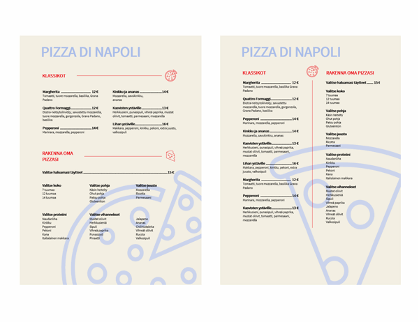 Pizza-ruokalista
