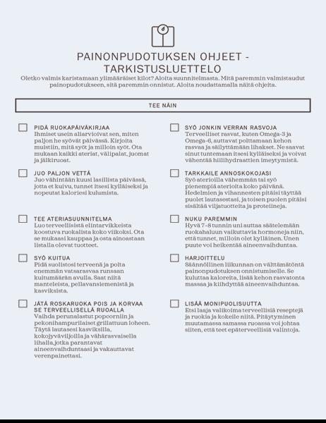 Painonpudotuksen ohjeet -tarkistusluettelo