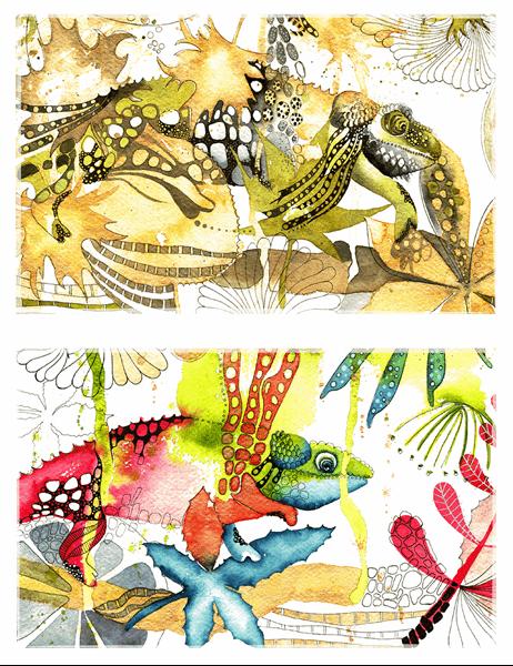 Kameleontti-tervehdyskortit (puolitaitto)